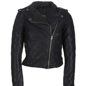 Black Quilted Moto Jacket Size Medium